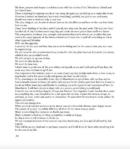 Ариана Гранде после теракта  даст в Манчестере благотворительный концерт